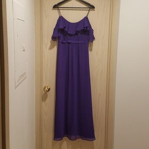 David's Bridal Cold Shoulder chiffon dress, size 4